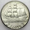 2 zł złote 1936 Żaglowiec Statek PIĘKNA