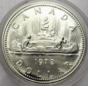 Kanada 1 dolar 1972 Canoe kanu SREBRO
