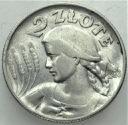 2 zł złote 1925 Kobieta i kłosy, żniwiarka, kropka