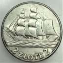 2 zł złote 1936 Żaglowiec Statek ŁADNA