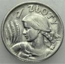 1 zł złoty 1925 Kobieta i kłosy, żniwiarka, kropka