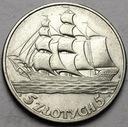 5 zł 1936 Żaglowiec Żaglówka Statek BARDZO ŁADNA