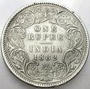 Indie 1 Rupia 1882 SREBRO