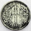 Austro-Węgry 1 korona 1893 SREBRO