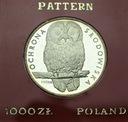 1000 zł złotych 1986 PRÓBA Ag, Sowa RZADKA