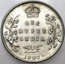Indie 1 Rupia 1907 SREBRO