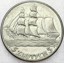 5 zł złotych 1936 Żaglowiec Żaglówka Statek